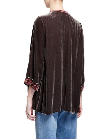 Johnny Was Plus Size Valmere Embroidered 3/4-Sleeve Velvet Flutter Top