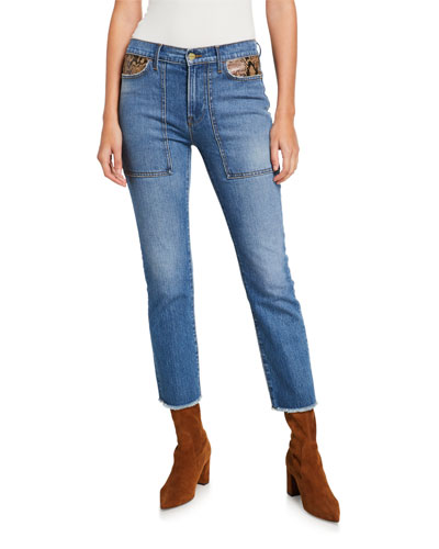 Le High Straight Ankle Jeans with Python Patchwork