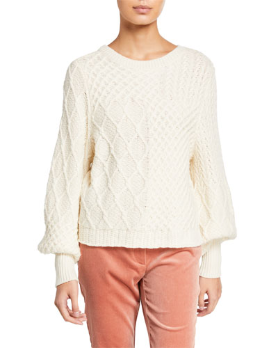 Patchwork Cable Crewneck Sweater