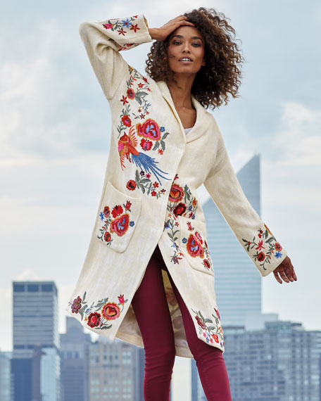 Johnny Was Plus Size Ovadio Embroidered Coat