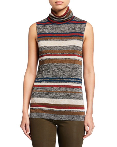 Veronica Beard Esther Striped Sleeveless Turtleneck Sweater