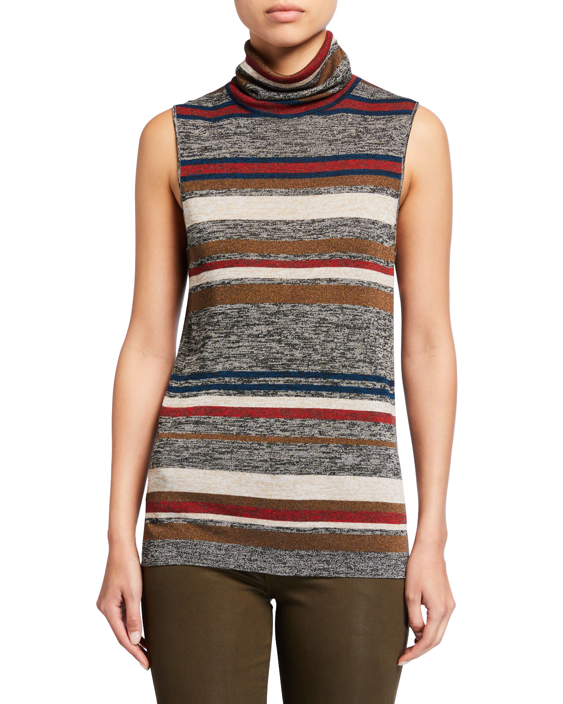 Esther Striped Sleeveless Turtleneck Sweater by Veronica Beard
