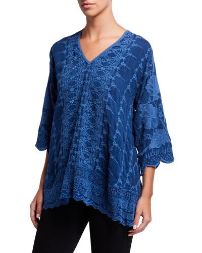 Plus Size Hakaru V-Neck 3/4-Sleeve Tonal Embroidered Tunic