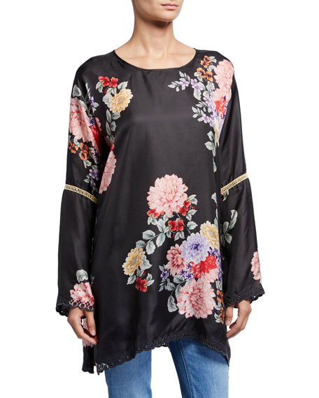 Johnny Was Linden Floral Long-Sleeve Silk Top