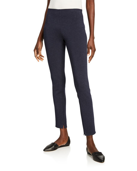 Theory Notched-hem Skinny Leggings In Navy