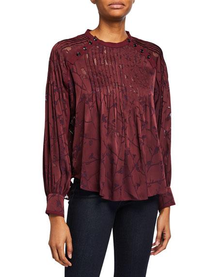Rag & Bone Rubie Floral Pintuck Long-Sleeve Blouse