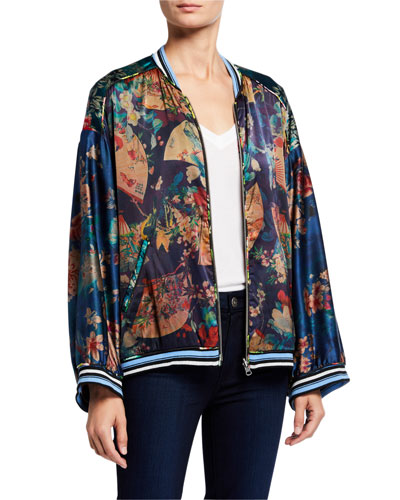 Fusai Reversible Printed Stretch Silk Bomber Jacket