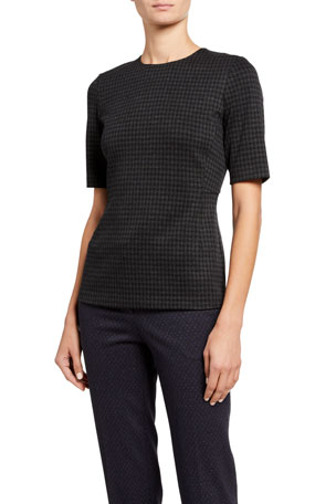 Theory Fitted Short-Sleeve Shell Top