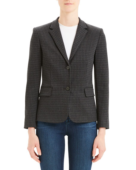 Image 2 of 4: Theory Houndstooth Shrunken Two-Button Jacket