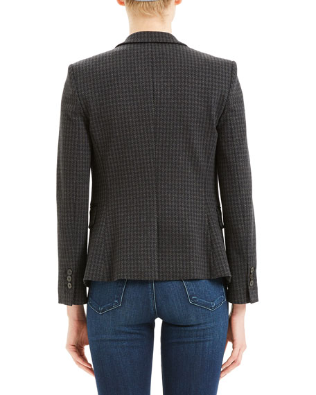Image 3 of 4: Theory Houndstooth Shrunken Two-Button Jacket