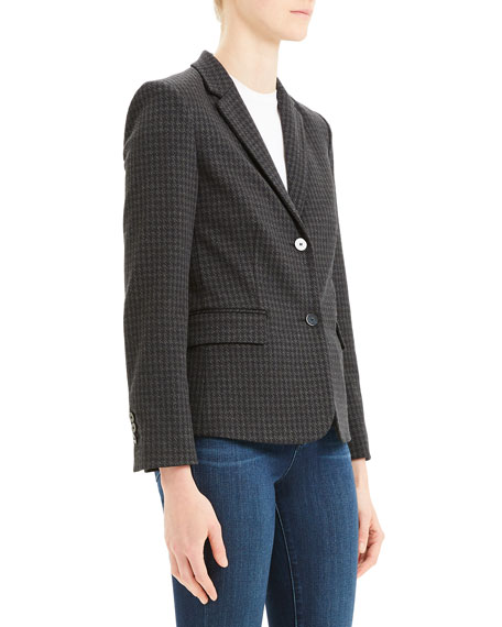 Image 4 of 4: Theory Houndstooth Shrunken Two-Button Jacket