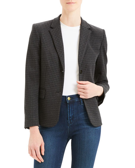 Image 1 of 4: Theory Houndstooth Shrunken Two-Button Jacket