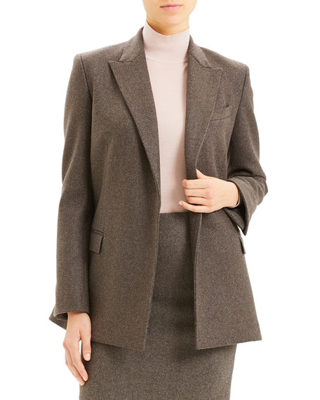 Theory Double-Breasted Cashmere Tweed Blazer