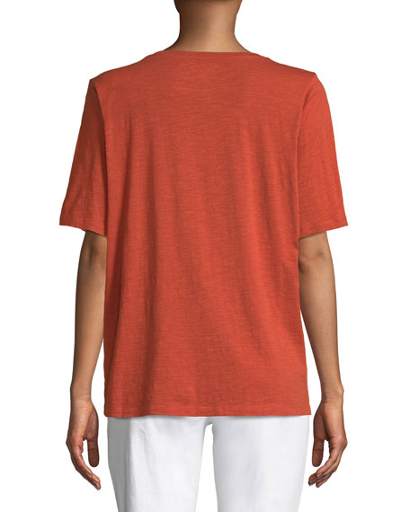 Eileen Fisher Petite Short-Sleeve V-Neck Organic Cotton Slub Jersey Tee