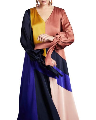Plus Size Frisottino Patchwork V-Neck Blouson-Sleeve Tie-Cuff Dress