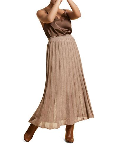 Plus Size Pleated Metallic Long Skirt