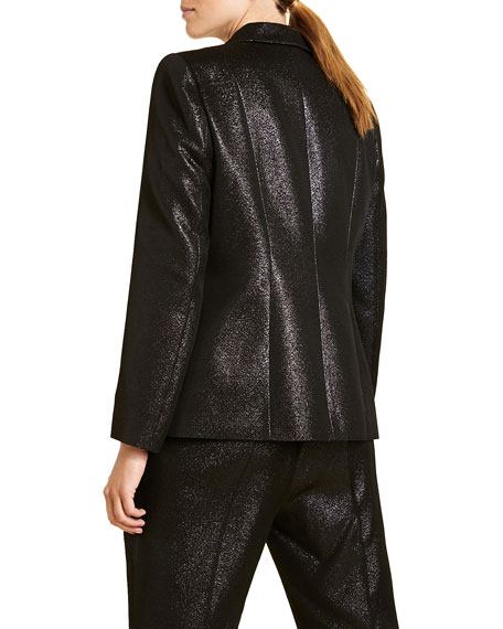 Marina Rinaldi Plus Size Metallic Crepe Fitted Two-Button Jacket