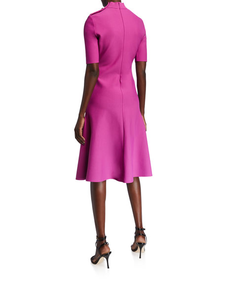 St. John Collection Mock-Neck Sculpted Milano Knit Elbow-Sleeve Dress w/ Button Shoulder Placket