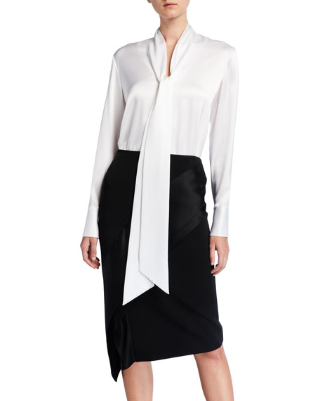 St. John Collection Liquid Satin Tie-Neck Blouse