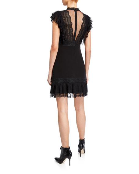 Three Floor Extra Illusion Mock-Neck Cap-Sleeve Lace-Trim Dress