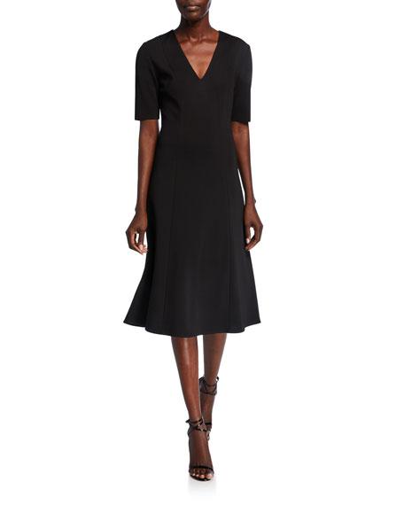St. John Collection Milano Knit V-Neck Short-Sleeve Dress
