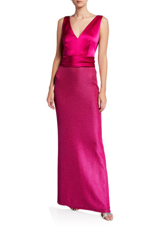 St. John Collection Sleeveless Textured Metallic Inlay Column Gown w/ Liquid Satin Bodice