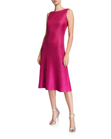 St. John Collection Bateau-Neck Sleeveless Textured Metallic Inlay Knit Dress