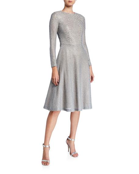 St. John Collection A-Line Bracelet-Sleeve Bejeweled Silver Netting Dress