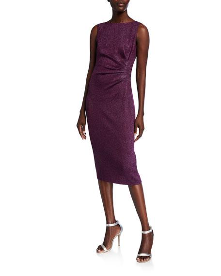 St. John Collection Bateau-Neck Sleeveless Sequin Detail Milano Knit Dress