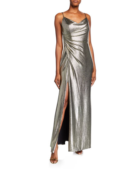 Aidan by Aidan Mattox Cowl-Neck Sleeveless Foiled Jersey Column Gown