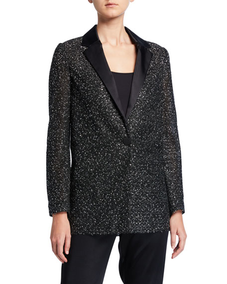 St. John Collection Bejeweled Silver Netting Jacket with Duchess Satin Collar