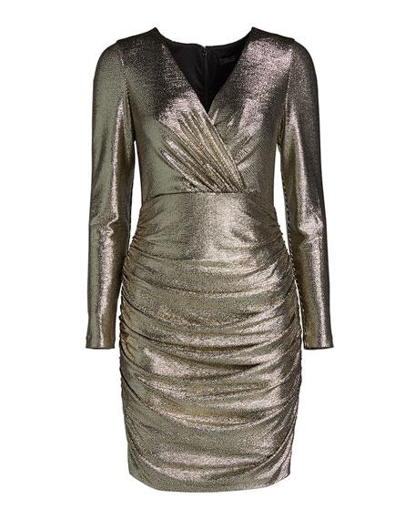 Aidan by Aidan Mattox Metallic Long-Sleeve V-Neck Ruched Dress
