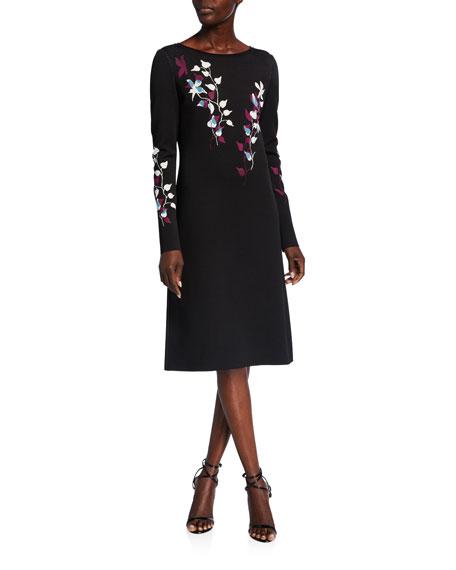St. John Collection Placed Floral Jacquard Bateau-Neck Long-Sleeve A-Line Dress