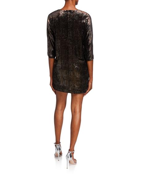 Aidan by Aidan Mattox Foiled Jersey Long Sleeve Dolman Shift Dress