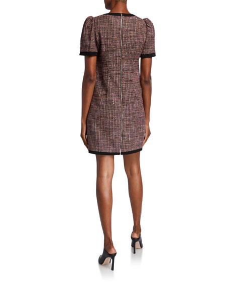 kate spade new york puff-sleeve tweed shift dress