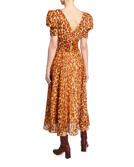 kate spade new york panthera clip dot puff-sleeve dress