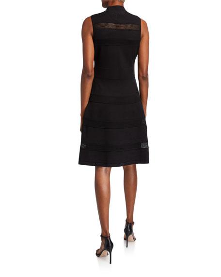 kate spade new york mock-neck sleeveless mesh panel sweater dress