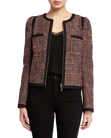 kate spade new york tweed puff-sleeve zip-front jacket