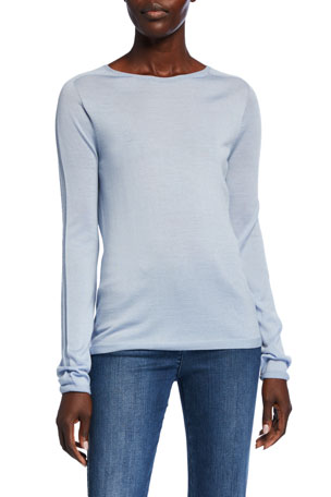 St. John Collection Fine Gauge Jersey Knit Long-Sleeve Top w/ Back Seam Detail
