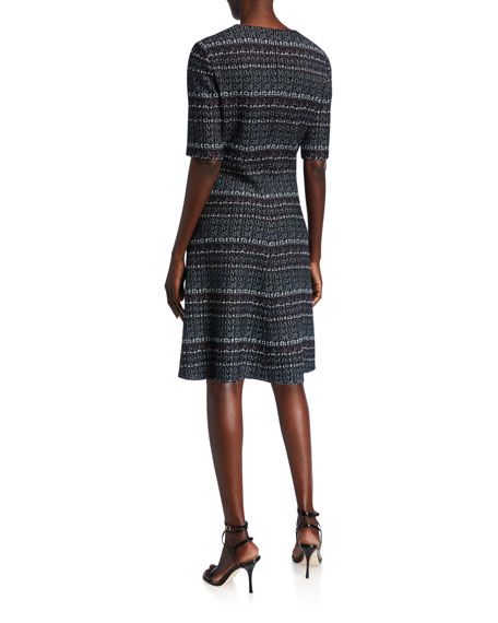 St. John Collection Elbow-Sleeve A-Line Boucle Tweed Dress