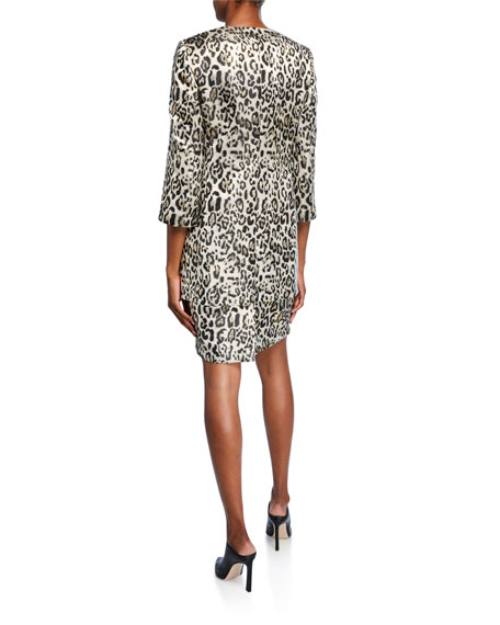 Image 3 of 5: Albert Nipon Metallic Animal Jacquard 3/4-Sleeve Topper Jacket & Dress Set