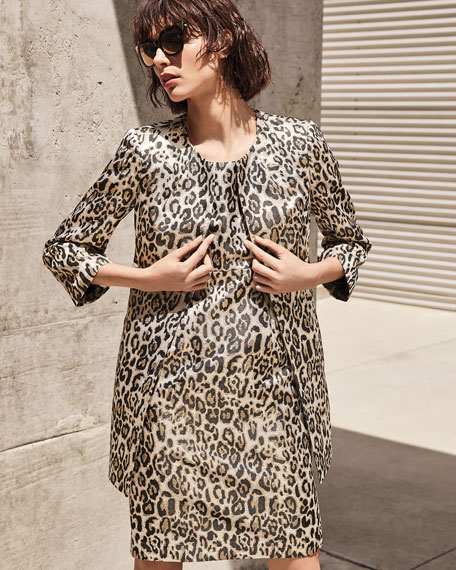 Image 2 of 5: Albert Nipon Metallic Animal Jacquard 3/4-Sleeve Topper Jacket & Dress Set