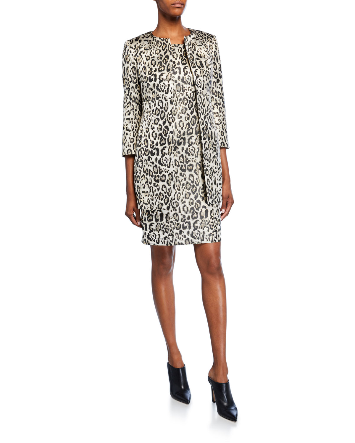 Albert Nipon Metallic Animal Jacquard 3/4-Sleeve Topper Jacket & Dress Set