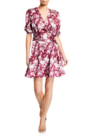 Three Floor Capricious Printed Elbow-Sleeve Mini Dress