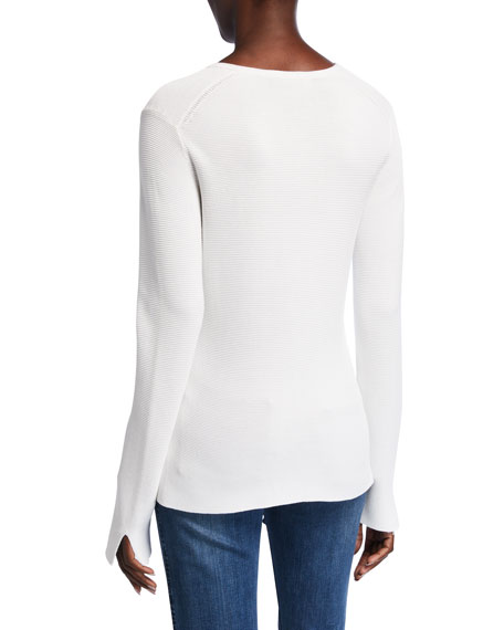 Image 2 of 2: St. John Collection Links Textured V-Neck Sweater w/ Sleeve Slits