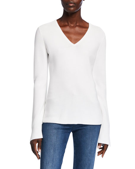 Image 1 of 2: St. John Collection Links Textured V-Neck Sweater w/ Sleeve Slits
