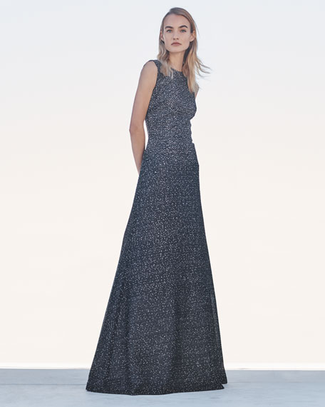 Image 2 of 3: St. John Collection Sleeveless Bejeweled Silver Netting Gown with Sequins