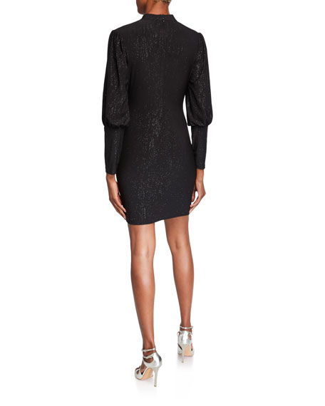 Image 2 of 2: Aidan by Aidan Mattox Metallic Jersey High-Neck Puff-Sleeve Cocktail Dress
