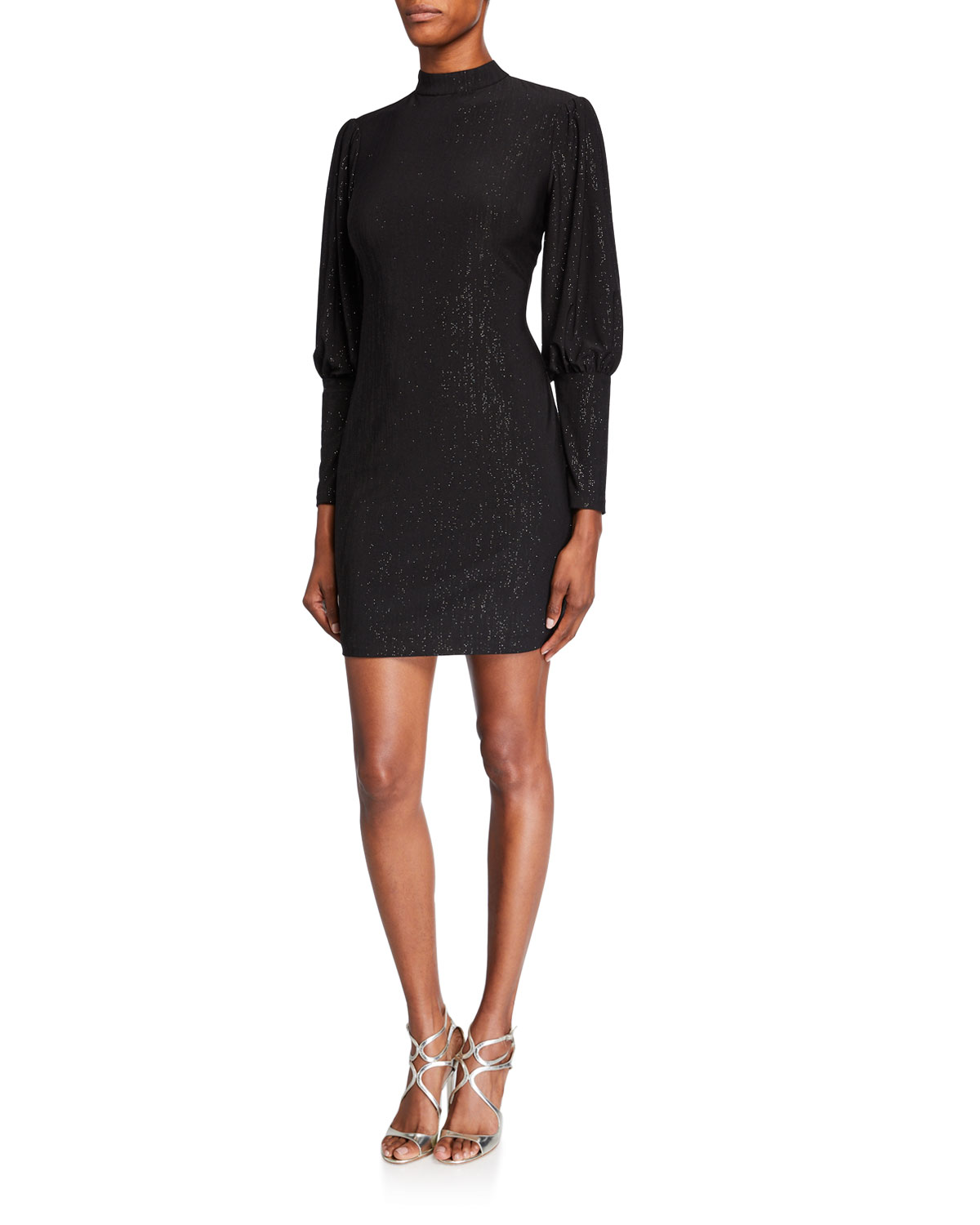 Aidan by Aidan Mattox Metallic Jersey High-Neck Puff-Sleeve Cocktail Dress