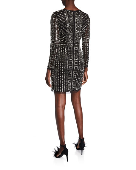 Image 2 of 2: Geometric Beaded Long-Sleeve Mini Cocktail Dress